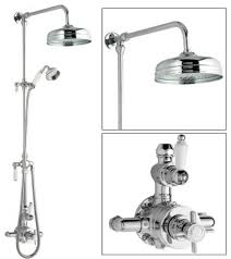 ceramic chrome thermostatic shower system with rose head and grand riser kit