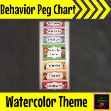 Water Color Behavior Reward Peg Chart Clip Chart Editable