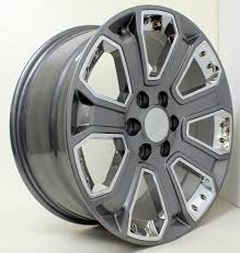 All Chevy chevy 22 inch rims : GMC Gunmetal with Chrome Inserts 22 inch Wheels Rims