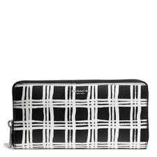 Coach Bleecker Accordion Zip Wallet In Black and White Print