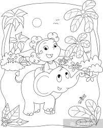 Sticker Kleurplaat Illustratie Van Een Meisje Rijdt Op Een Olifant