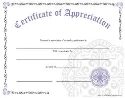 An Ornate Certificate Of Appreciation With A Large Lavender Graphic