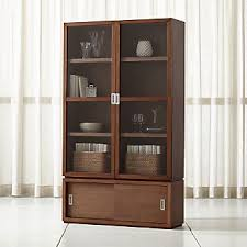 crate and barrel home office. Aspect Walnut 3-Piece Glass Door Storage Unit Crate And Barrel Home Office F