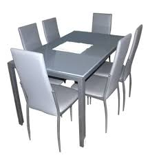 7pcs dining set table 6 chairs silvia
