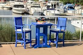 furniture for small patio. Counter Height Patio Furniture With Blue Paito Chairs And Small Table For