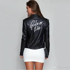 new women motorcycle pu leather jacket casual fashion back letter embroidered with zipper slim short autumn winter jacket coat leather jacket mens quilted