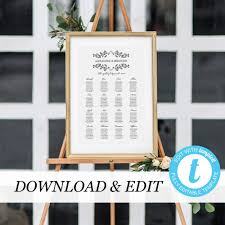 Seating Chart Template Black White Seating Chart Templett