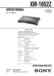 sony xm 1652z amplifier manuals sony xm 1652z amplifier service manual