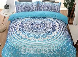 vivilinen bohemian mandala print blue ombre polyester 3 piece bedding sets