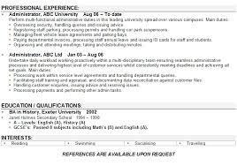 Cv Examples Administration Cv Examples Uk Admin Plks Tk