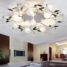 2019 led ceiling light modern green leaves light crystal ball ceiling light aluminium wire ceiling lamp for study bedroom living room dining room from