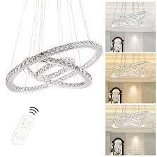 mumeng modern luxury crystal chandelier pendant light dimmable change color temperature for dining room living room three rings