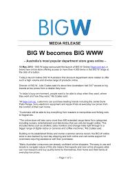 big w becomes big media release