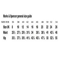 Marks And Spencer Size Guide Please Go Through This Chart