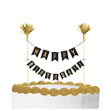 Gold Birthday Cake Pick 10in X 8 12in Party City