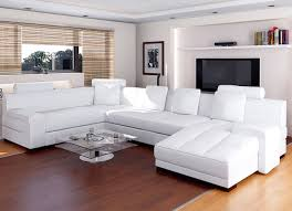 modern white leather sofa with u shaped design feat unique living room bay window curtain and