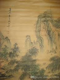 old chinese painting scroll landscape by zhang daqian shan s archaize ancient paintings decoration with 93 98 piece on china style2016 s