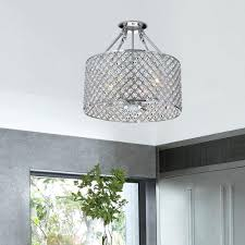 flush mount crystal chandelier round drum semi 4 light flush mount crystal chandelier light fixture with
