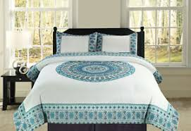 teal queen comforter. Image Is Loading Full-Queen-or-King-Boho-Mandala-Blue-Teal- Teal Queen Comforter