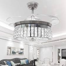 Crystal Light Electric Motor Rs Lighting Crystal Ceiling Fan Modern Style Remote Control Led Mute Electric Fans Chandeliers For Home Decoration Living Room Dinner Room Simple 4
