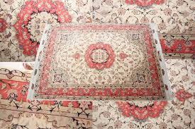 pink silk and wool tabriz rug