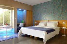 Stylish Bedroom Decoration Ideas Wonderful Master Bedroom Decorating Ideas  In Blue Patterned Wallpaper Picture