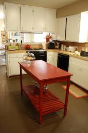 Kitchen:Chic Red Portable Kitchen Island Inside Small Kitchen With White  Storage Offer Extra Workspace
