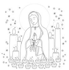 Madonna Con Candele Disegno Da Stampare E Da Colorare Per Bambini E