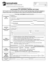 Accessibility Petition Form Pennsylvania Construction