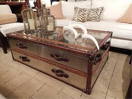 POLISHED METAL CLAD STEAMER TRUNK STYLE COFFEE TABLE,