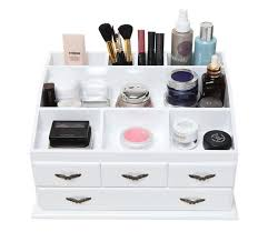 wooden makeup organizer skincare storage counter display 4 drawers