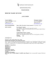 Basic Resume Outline Resume Templates