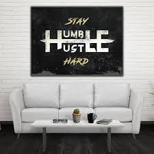 office canvas art. Stay Humble Hustle Hard - Motivational Inspirational Canvas Office Wall Art ( E