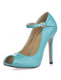 Light Blue Womens Heels Women High Heels Light Blue Peep Toe Buckle Detail Pumps