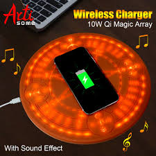 10w Magic Array Lighting Wireless Charger Us 34 99 50 Off 10w Magic Array Wireless Charger Universal Circle Qi Wireless Fast Charger Charging Pad For Iphone X Xs Max Xr Samsung With Box In