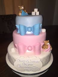 B2289 Cute Christening Cake For Twins Baby Shower Misc In 2018