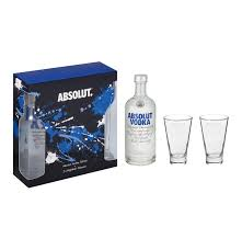 absolut imported vodka and 2 highball gles in gift pack 750ml