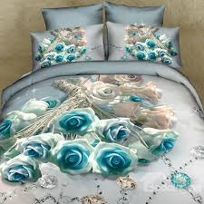 33 3d blue roses and diamond printed cotton 4 piece bedding sets