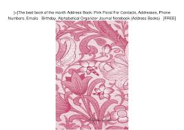 Birthday And Address Book The Best Book Of The Month Address Book Pink Floral For Contacts