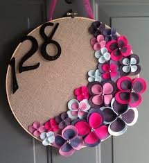 linen hoop felt handmade door decoration grape jelly 14in