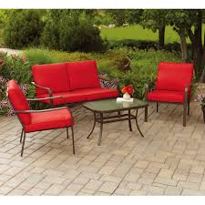 Details about mainstays stanton cushioned 4 piece patio conversation set seats 4