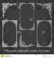Chalkboard Background Decorative Calligraphic Corners And Frames On A Chalkboard