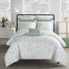 chic home 10 piece newark park super soft microfiber vintage paisley pattern printed two tone bed in a bag duvet set green with coordinating sheet and 2