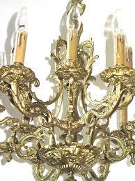 Antik Französische Messing Bleikristall Kronleuchter Antike