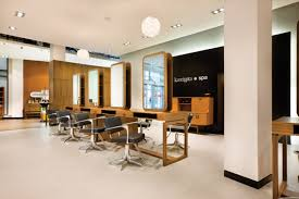 hair salon lighting ideas. modern recessed lighting with black chairs and wooden desk for contemporary hair salon interior design ideas