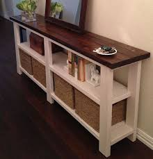 Exellent Sofa Table With Storage Farmhouse Console Entertainment By Fatherofwood Inside Creativity Ideas
