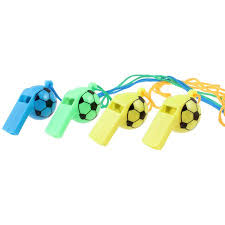 4 <b>Pcs</b> Training <b>Football</b> Design Multicolor Whistles w <b>Nylon</b> Strap ...
