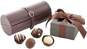jewelry roll and chocolate truffles gift