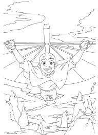 Kids N Fun Kleurplaat Avatar Aang Aan Het Hanggliden