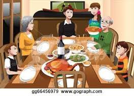 thanksgiving dinner table clipart. vector illustration - family having a thanksgiving dinner. dinner table clipart
